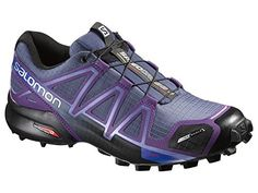 Salomon Womens Speedcross 4 CS Women's Trail Running Shoes Shoes Slate Blue Cosmic Purple Black 85 Spare Quicklace Bundle ** Details can be found by clicking on the image.(This is an Amazon affiliate link and I receive a commission for the sales)