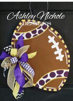 Precious Football Door Hanger, Customizable, by Ashley Nichole Designs