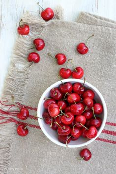 Cherries over antique French tea towels French Tea, Cherries Jubilee, Sweet Cherries, Bing Cherries, Acai Berry, Simple Pleasures, Pinterest Board, Fruits And Vegetables, Citrus Fruits