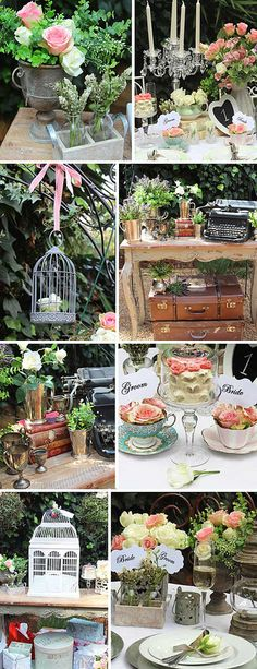 lots of cool vintage ideas here, bird cages are fun to incorporate into any theme