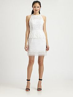 MILLY Mia Laser-Cut Peplum Dress