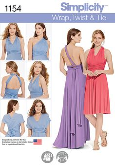 Simplicity Creative Group - Misses' Knit Wrap and Tie Dress (Handmade bridesmaids dresses)