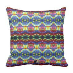 """Innerfeelians KCFX Throw Pillow. 60% OFF Pillows – Use CODE: ZAZZLESALE60  'til MidniteTonite 11-25-17. Rest yourself on this exotic pillow and be transported to a parallel universe that is extraordinarily symmetrical. Similar to the currently trending """"Ikat"""" style, this design blends abstract art, technology and psychedelia in a completely unique fashion. The colorful & unique design will be a bold addition to your décor. Over 3000 products at my Zazzle online store. Open 24/7 -- World…"""