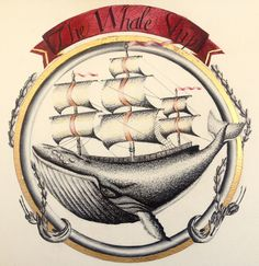 Whale Ship, by Lili Piek. Pen, charcoal and gold leaf.