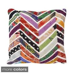 colorful! Vintage Chevron Square Accent Pillow (India)