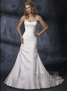 Pleating Sweep Train Strappless Column Taffeta White Sexy Wedding Dresses WDS127