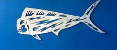 Metal game fish dorado sculpture. Aluminum, hand drawn and plasma cut... Www.metalgamefish.com