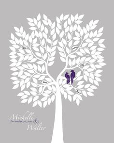 Wedding Tree Guest Book Alternative - Silhouette Style Tree Guestbook Poster with love birds, eggplant purple silver gray, 16x20 for 200
