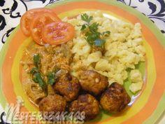 Bakonyi húsgolyók gombapaprikással recept Pork, Food And Drink, Ethnic Recipes, Red Peppers, Kale Stir Fry, Pork Chops