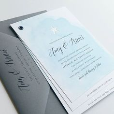 The Amy wedding invitation booklet is coming to the Etsy shop next week! The starfish can be foil stamped in silver or gold foil, or can be replaced with a different icon such as an anchor or palm tree (or lobster!) These sweet little booklets contain three or four pages, and the last page has a perforated response postcard - perfect for destination