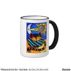 Whimsical Cat Art - Sun And Moon Ringer Mug by Dora Hathazi Mendes  For kids, cat art, cat painting, for children, cat, art, cats, whimsical, sun, moon, quirky, colorful, gatos, kitty, kitten, feline fantasy, pet, pets, painting, art, watercolor, beautifu