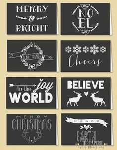 Printable Folded Holiday Gift Tags-Set of 8, from The Paperie by Life Made Lovely