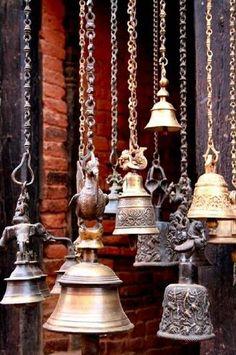 bells as wind chimes Yoga Studio Design, Love Bells, Temple Bells, Ring My Bell, Ding Dong, Motif Floral, Houston, Feng Shui, Garden Art