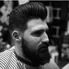 Super Pomp Beard Styles For Men, Hair And Beard Styles, Men's Hairstyle, Hairstyles, Modern Pompadour, Brylcreem, Men Beard, Male Grooming, Mens Hair