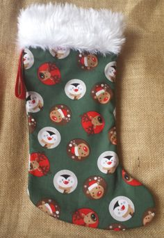 Xmas Stocking, Christmas Stocking with funny Reindeer, Fireplace Decor by PirkkosCreations on Etsy