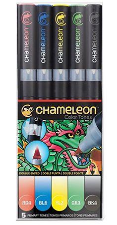 Chameleon Blendable Color Tones - Permanent Alcohol-Based Marker Pens - Set of 5 - Primary Tones