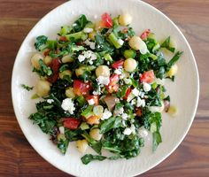Kale Crunch Salad. Delicious and healthy with fresh cooked garbanzo beans and Mediterranean flavors.