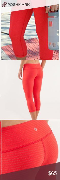 Lululemon 🍋 Wunder Under Crop Fiery Red Stripped Excellent used condition  Colors are slope stripe heathered firey red and love red  Size 2  Smoke free home!  Be sure to check out my closet for more Lululemon 🍋 lululemon athletica Pants Leggings