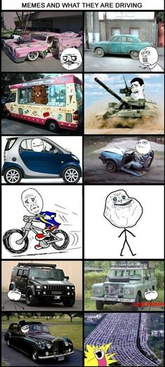 Memes and their cars - funny pictures #funnypictures