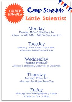 Summer Camp at home - click through for the full lesson plans, photos of each activity and MORE! Little Scientists week at a glance camp learn and play from No Time For Flash Cards.