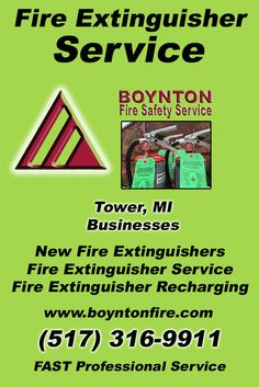 Fire Extinguisher Service Tower, MI (517) 316-9911Local Michigan Businesses Discover the Complete Fire Protection Source.  We're Boynton Fire Safety Service.. Call us today!