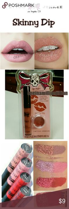 Semi Permanent Liquid Matte Lipstick Kit New/Sealed (Swatches from Google)  Full Sz - Authentic  Color: Skinny Dip - a barely there shade of nude pink that looks stunning on any skin tone. Glam it up by adding the glitter!  Lip Color & Glitter Set, has a long-lasting formula. A bold lip is the ultimate statement accessory, especially when you top it with glitter. This lip color dries matte & is smudge proof. This set includes cosmetic glitter, so you can go from matte to glitter lips in…