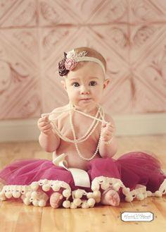 Sewn Pom Pom Tutu Skirt   - Wine, Burgandy, Cream - Baby, toddler, Girl