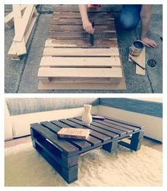 What you need: pallets saw hammer nails abrasive paper glaze screws carriage bolts caster wheels From the First Pallet Create the Top of the Table The standard pallet (80x120cm/31,5x47,25in) was too big for our living room, so we sawed the