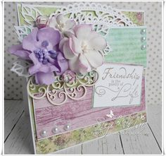 Friendship card with handmade #foamiran #flowers #cards #crafts #Friendship