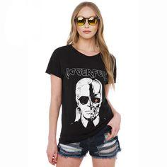 T shirts Women Fashion 2017 New Arrival Skull Printed Black Punk Hip Hop Rock Lagerfeld Tshirts Women Tops Plus Size