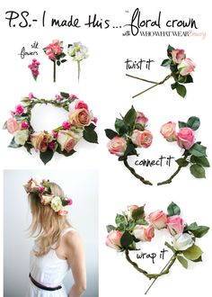 Calling all flower girls and princesses! Easy DIY flower crown ... (~TA here's an idea, add flowing tulle or multiple ribbon strands to the back for an extra-special accessory)