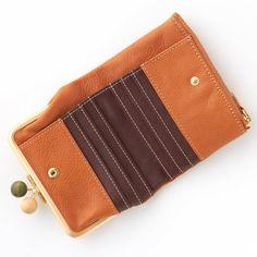 がま口レザー二つ折り財布