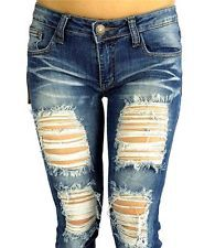 NEW cutout JEANS DESTROYED RIPPED DISTRESSED WOMEN SKINNY SLIM BLUE DENIM JEANS