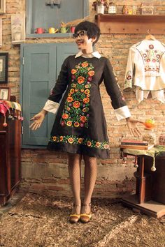 At #Batik Amarillis# Studio         <3 Batik Amarillis Creative Director Selly Hasbullah Wearing Batik Amarillis's Wednesday dress <3 <3 ...elegant  embellished dress with gorgeously intricate floral hungarian embroidery style , accented with a crisp contrast collar and matching cuffs <3 ..also featured Miu Miu Cat eye glasses and orla kiely shoes