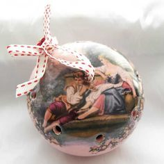 Pretty vintage ceramic pomander in pink with a Fragonard romantic image on Recycled and re- filled with English dried lavender by us Ideal as a gift