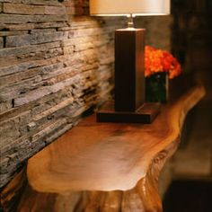Stacked Stone Tile Wall and that table!