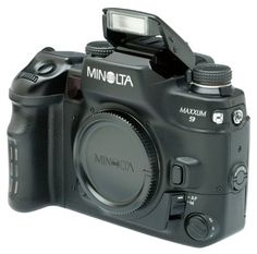 Minolta Maxxum 9: Professional 35mm SLR Camera. Disliked by many because of its built-in flash (professional cameras don't come with flash)