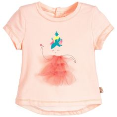 Baby girls pale pink, short-sleeved t-shirt by Billieblush. Made in soft cotton jersey with poppers to fasten at the back. The front has a dancing girl print with a soft tulle dress appliqué.