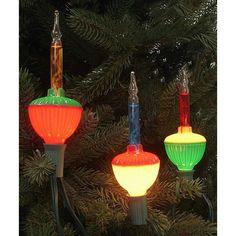 Set of 7 Multi-Color Retro Christmas Bubble Lights - Green Wire
