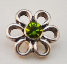 12mm Snap - Flower, Green Crystal