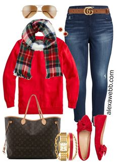 Plus Size Holiday Outfits with Skinny Jeans, Red Sweater, Plaid Scarf, Red Flats - Alexa Webb Size Herbst Outfits rot 2019 Plus Size Holiday Outfit Ideas – Part 3 - Alexa Webb Size Herbst Mode Plaid Red Sweater Outfit, Red Jeans Outfit, Jean Outfits, Casual Outfits, Cute Outfits, Fashion Outfits, Outfits With Red Shoes, Modest Fashion, Travel Photography