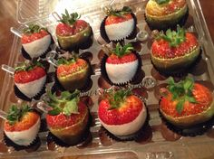 White and Gold chocolate covered strawberries, infused with Amaretto and Vodka with extra shots!