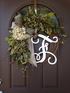 Year Round Wreath for Front Door - Everyday Hydrangea Wreath with Monogram - All Season Grapevine Wreath with Initial - Housewarming Gift