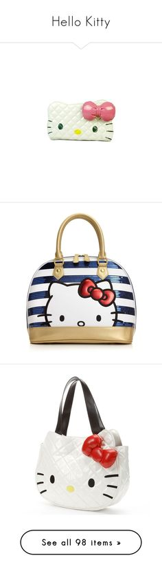 """Hello Kitty"" by princess-cara ❤ liked on Polyvore featuring bags, wallets, purses, accessories, hello kitty, clutches, hello kitty bag, white bag, quilted bag and hello kitty wallet"