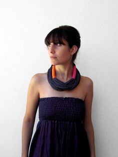 The tribal necklace  handmade in charcoal by birdienumnumshop