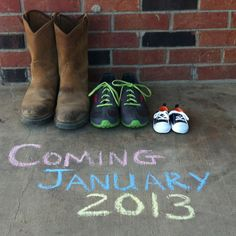 Pregnancy Announcement: would love to do this with Kenny's work boot, a pair of my flats, then a cute set of baby shoes.
