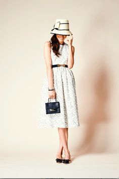 take one midi-length dress, cinch it at the waist with a belt, add a little hat. ladylike perfection.