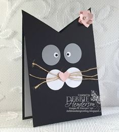 Debbie's Designs: Kitty Cat Card for Kaitlynn's Teacher with directions included. Scrapbooking Chat, Scrapbook Cards, Handmade Birthday Cards, Greeting Cards Handmade, Bday Cards, Cat Birthday Cards, Punch Art Cards, Shaped Cards, Animal Cards