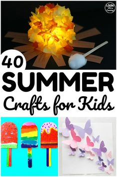 These simple summer crafts for kids are a perfect way to spend warm afternoons with little ones! Great for simple art projects to make together! Summer Crafts For Kids, Crafts For Kids To Make, Summer Kids, Fun Crafts, Simple Crafts, Summer Camp Activities, Fun Activities For Kids, Easy Art Projects, Simple Art