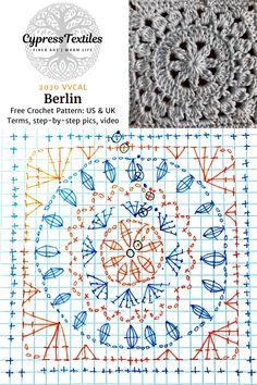 Crochet Motif Patterns, Granny Square Crochet Pattern, Crochet Squares, Crochet Chart, Crochet Designs, Crochet Stitches, Knitting Patterns, Granny Squares, Crochet Quilt